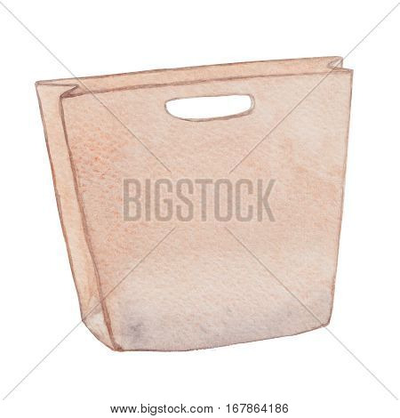 Shopping bag. Pink stylish craft paper shopping bag eco bag carrier bag ecological package. Watercolor illustration.
