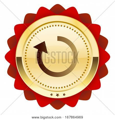 Loading seal or icon with arrow symbol. Glossy golden seal or button with red color.
