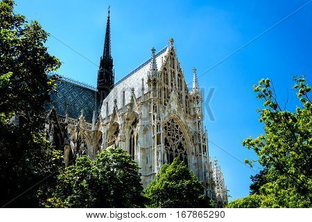 This is a Votive Church,Vienna,Austria. It's a beautiful sky day.