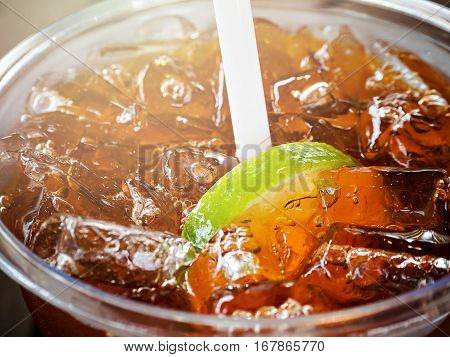 Close Up Of A Cup Of Ice Lemon Tea