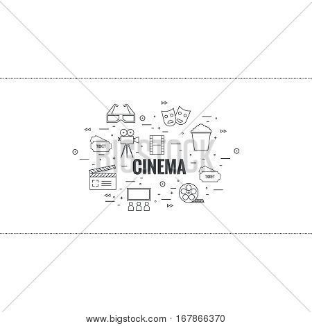 Abstract background with popcorn,  camera, film reel, mask, clapboard, 3D glasses and  tickets. The concept of cinema and watching  movie. Layout, flyer, poster for announcement. thin line.