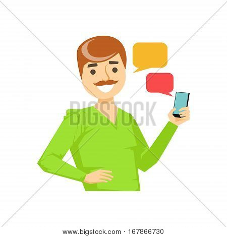 Man With Moustache Texting Messages, Part Of People Speaking On The Mobile Phone Series. Cartoon Character Talking To The Cell Phone Portrait Flat Illustration.