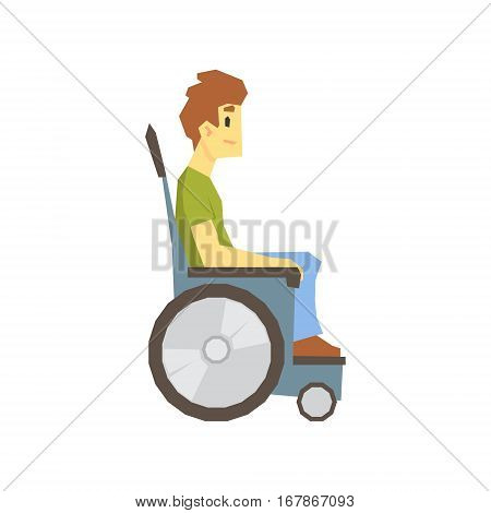 Guy In Wheelchair, Young Person With Disability Overcoming The Injury Living Full Live Vector Illustration. Handicapped Person Happy Cartoon Character.