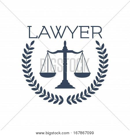 Advocate or lawyer emblem. Vector icon for legal or juridical service center with symbol of scales of Justice and heraldic laurel wreath for advocacy or notary company, law and rights attorney office