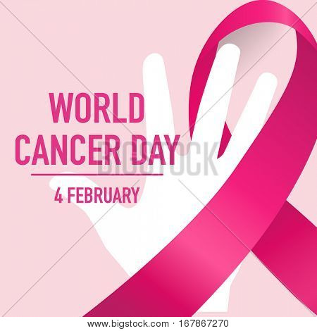 World cancer day. February 4. World cancer day design background with pink ribbon. Vector Illustration.