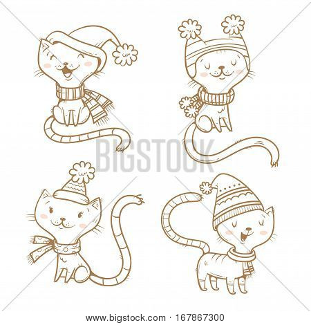 Cute cartoon cats set. Four little kitten. Winter time. Funny animals in hats and scarves. Vector contour image no fill. Children's illustration.