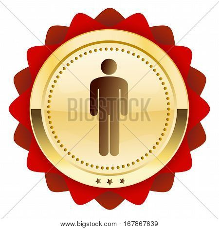 Man seal or icon with male symbol. Glossy golden seal or button.