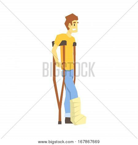 Man Walking On Crouches, Young Person With Disability Overcoming The Injury Living Full Live Vector Illustration. Handicapped Person Happy Cartoon Character.