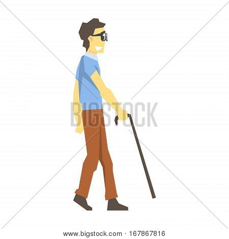 Blind Man Walking With Walking Stick, Young Person With Disability Overcoming The Injury Living Full Live Vector Illustration. Handicapped Person Happy Cartoon Character.