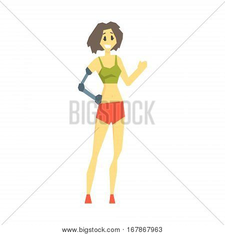 Girl With Prosthetic Arm In Sports Clothes, Young Person With Disability Overcoming The Injury Living Full Live Vector Illustration. Handicapped Person Happy Cartoon Character.