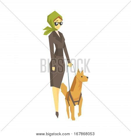 Stylish Blind Woman With Guiding Dog, Young Person With Disability Overcoming The Injury Living Full Live Vector Illustration. Handicapped Person Happy Cartoon Character.