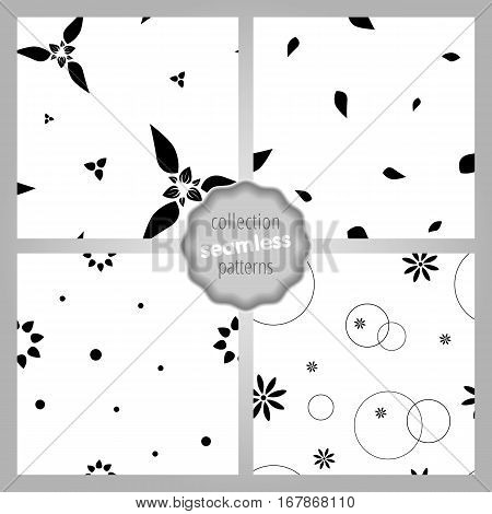 Сute seamless SET of patterns with flowers dots and circles. Monochrome. Love mood romantic and Valentine's Day background. Wrapping paper also. Easy and convenient to edit.