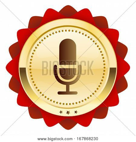Music seal or icon with microphone symbol. Glossy golden seal or button.