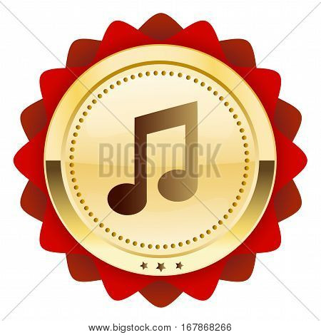 Music seal or icon with note symbol. Glossy golden seal or button.