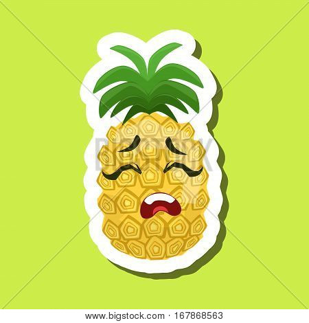 Pineapple Upset, Cute Emoji Sticker On Green Background. Humanized Tropical Fruit Character Isolated Icon In Colorful Cartoon Design.