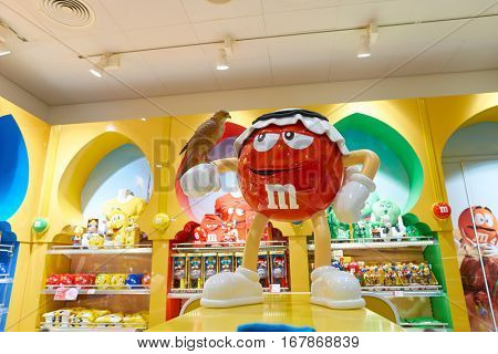 DUBAI, UAE - CIRCA NOVEMBER, 2016: M&M store in Dubai International Airport. M&M's are