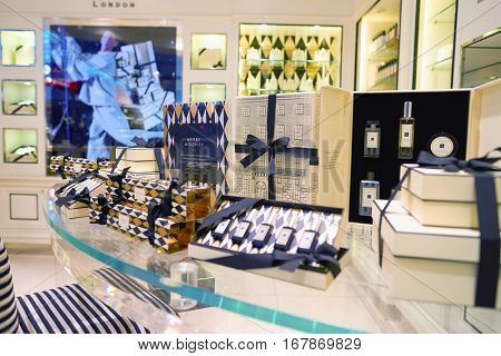 DUBAI, UAE - CIRCA NOVEMBER, 2016: Jo Malone store at Dubai International Airport. Jo Malone London is a British perfume and scented candle brand, founded by Jo Malone.