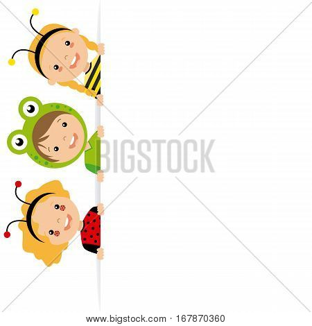 Children disguised as animals with blank poster for text