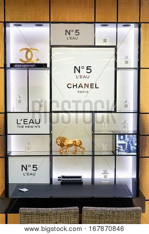 DUBAI, UAE - CIRCA NOVEMBER, 2016: Chanel â??5 at Dubai International Airport. It is the primary airport serving Dubai and is the world's busiest airport by international passenger traffic.