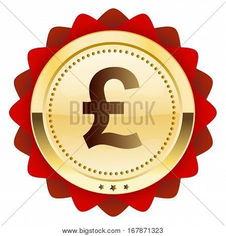 Profit seal or icon with pound sterling symbol. Glossy golden seal or button.