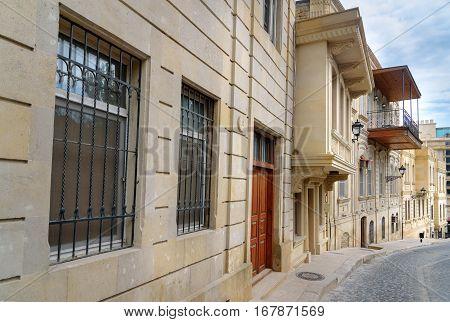 Kicik Gala Street in Old city Icheri Sheher is the historical core of Baku. World Heritage Site by UNESCO. Azerbaijan
