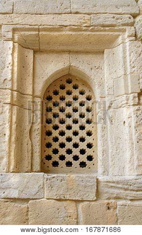 Brick Wall With Window In Old City, Icheri Sheher. Baku