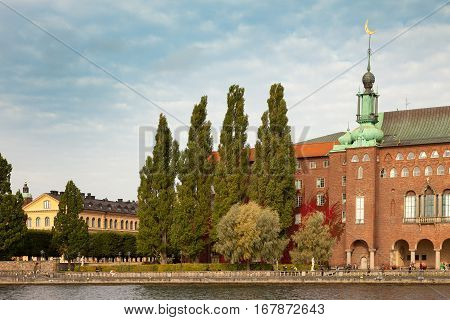Views of the City Hall (Stadshuset) in Stockholm Sweden