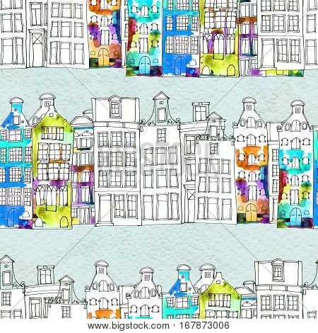Netherlands houses seamless pattern. Doodle background. Watercolor illustration with Amsterdam city. Old town. City center. Europe.