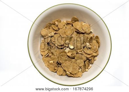 A bowl of cereals isolated on white background