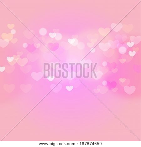 hearts in light on pink background, vector illustration