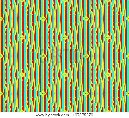 Abstract seamless strips and small squares of blue and yellow and red lined in rows to form a continuous pattern