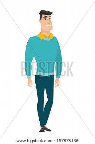 Young caucasian confident businessman. Full length of smiling confident businessman. Businessman standing in a pose signifying confidence. Vector flat design illustration isolated on white background.