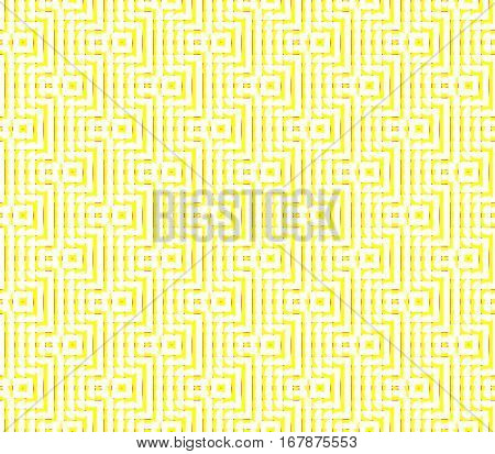 Abstract seamless strips and small squares of yellow and white lined in rows to form a continuous pattern