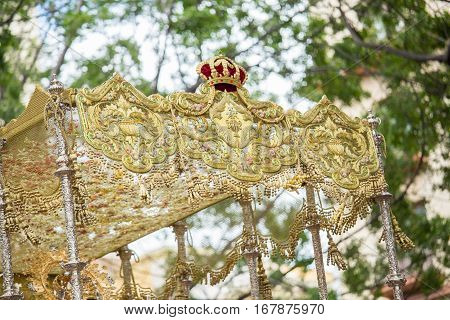 Holy Week In Malaga, Spain. Details Of Embroidery And Tassels Of The Throne.
