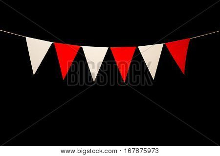 Bunting, Six Red And White Triangles On String For Banner Message