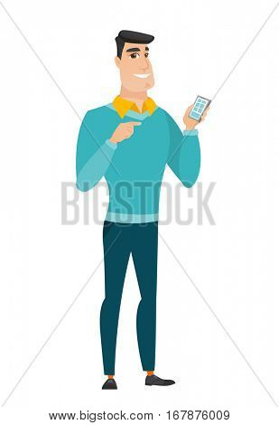 Happy businessman holding mobile phone and pointing at it. Full length of businessman with mobile phone. Businessman using mobile phone. Vector flat design illustration isolated on white background.