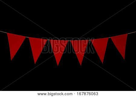 Bunting, Six Red Triangles On String For Banner Message