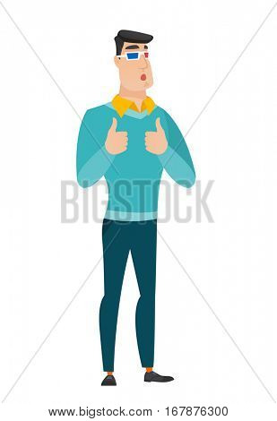 Amazed caucasian business man watching movie in 3D glasses. Full length of surprised business man wearing 3d glasses and giving thumbs up. Vector flat design illustration isolated on white background.