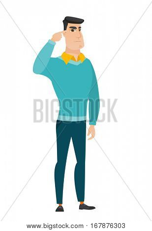 Angry caucasian businessman gesturing with his finger against his temple. Full length of businessman twisting his finger against temple. Vector flat design illustration isolated on white background.