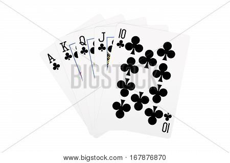 hand of royal flush isolated on white