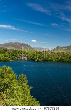 Dorothea Slate Quarry Wales, Snowdon In Distance