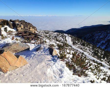 Panorama of winter mountains, ski slopes in bulgarian alpine ski resort Borovets