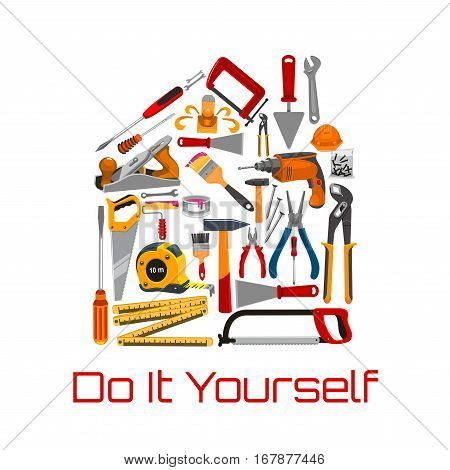 Repair and building tools or instruments on banner. Hammer and nails, paint brush and ruler, screwdriver and saw, spanner and jointer or plane, shovel and trowel, pliers and roller. House construction and engineering, carpenter work theme