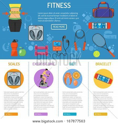 Fitness and gym infographics with flat icons Scales, waistline and exercise bike. vector illustration