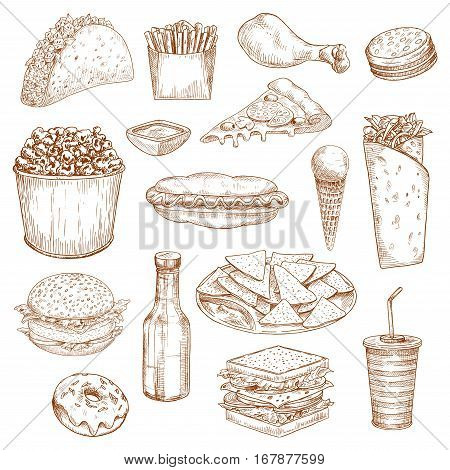 Fast Food icons. Vector isolated sketch sandwich and hamburger or cheeseburger, chicken leg and french fries, hot dog and ice cream, pizza and popcorn. Junk food nachos chips, mexican tacos, burrito or kebab, soda drink bottle and donut
