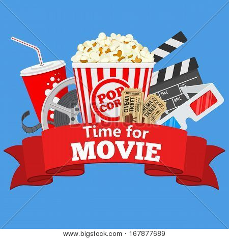 Cinema and Movie time flat icons with film reel, popcorn, paper cup, 3d glasses, clapperboard and rubbon, isolated vector illustration