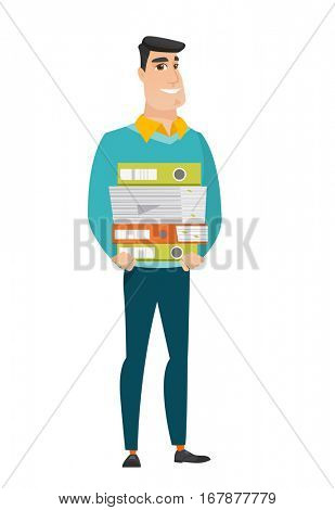Caucasian businessman holding pile of folders and papers. Full length of businessman with folders. Young businessman with folders and files. Vetor flat design illustration isolated on white background