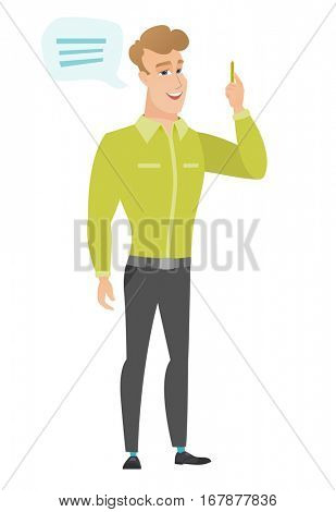 Caucasian businessman with speech bubble. Businessman giving a speech on conference. Businessman with speech bubble coming out of his head. Vector flat design illustration isolated on white background