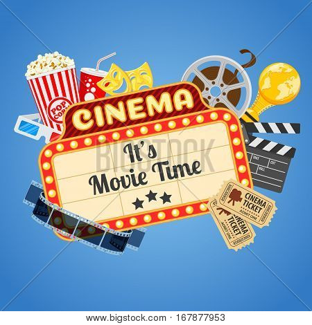 Cinema and Movie time concept with flat icons transparent film, popcorn, signboard, masks, award and tickets , isolated vector illustration