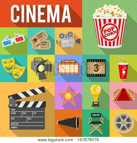 Cinema and Movie Flat Icons Set with Long Shadows like popcorn, award, clapperboard, tickets. Isolated vector illustration